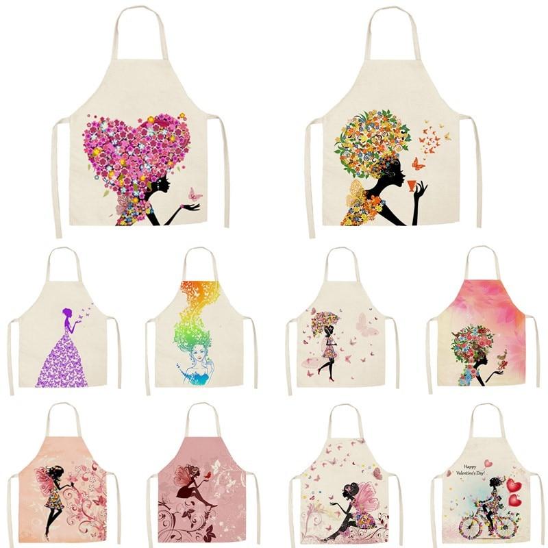 Aventais de cozinha femininos, 1 peça, estampa de flor, borboleta, para casa, cozinhar, babador, algodão, linho, 55*68cm
