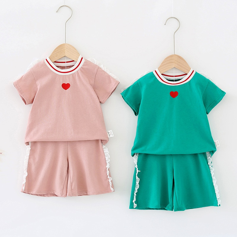 Baby Girl Clothing Sets Fashiona Korean Love Short Sleeve Tops Lace Stitching Shorts Two-piece Kids
