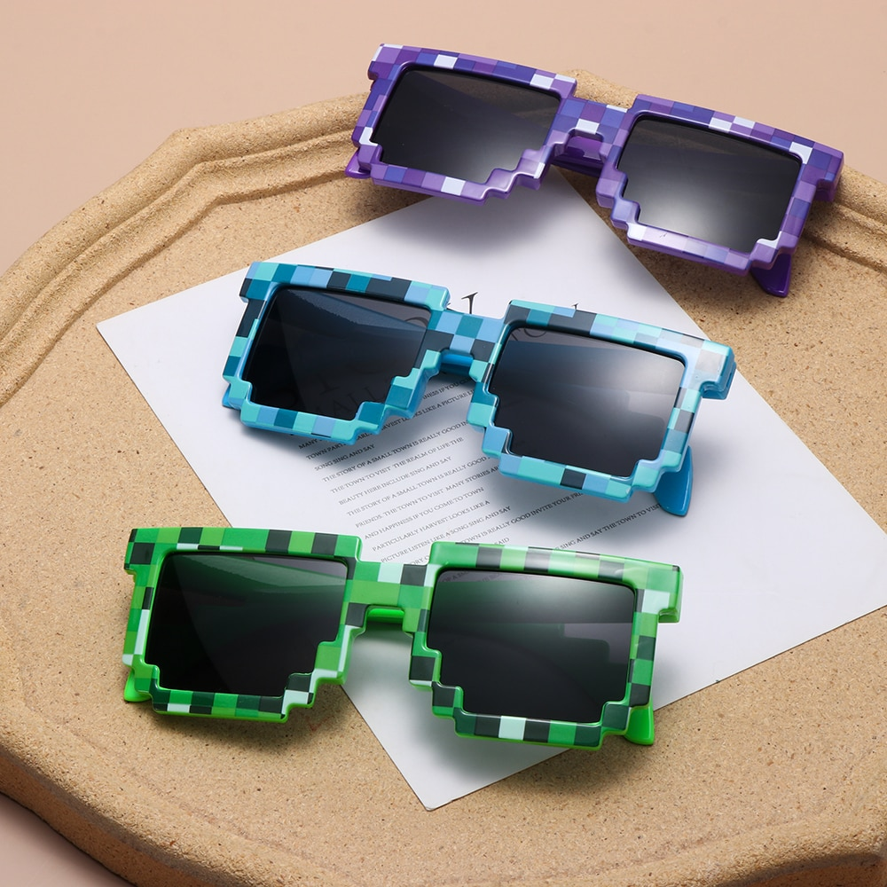 Fashion Sunglasses Adults Kids Cos play Action Game Toy Minecrafter Square Glasses with EVA Case Toys for Children Gift 10 Color
