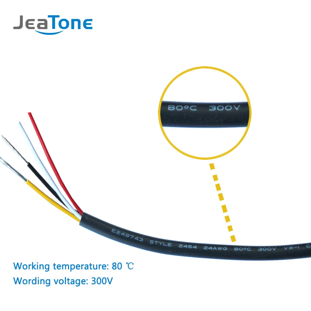 Jeatone 4 Pin Extended Cable Work For Intercom Video Door Phone 30 Meter enlarge