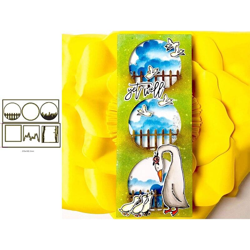 Квадратные круглые рамки с сценами декоративное тиснение бумажная карточка ремесла штамп 2020 круглые рамки квадратные рамки металлические ...