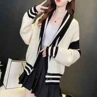 women cardigan sweater 2021 spring autumn striped knitted top female jacket korean style lantern sleeve v neck loose ladies coat
