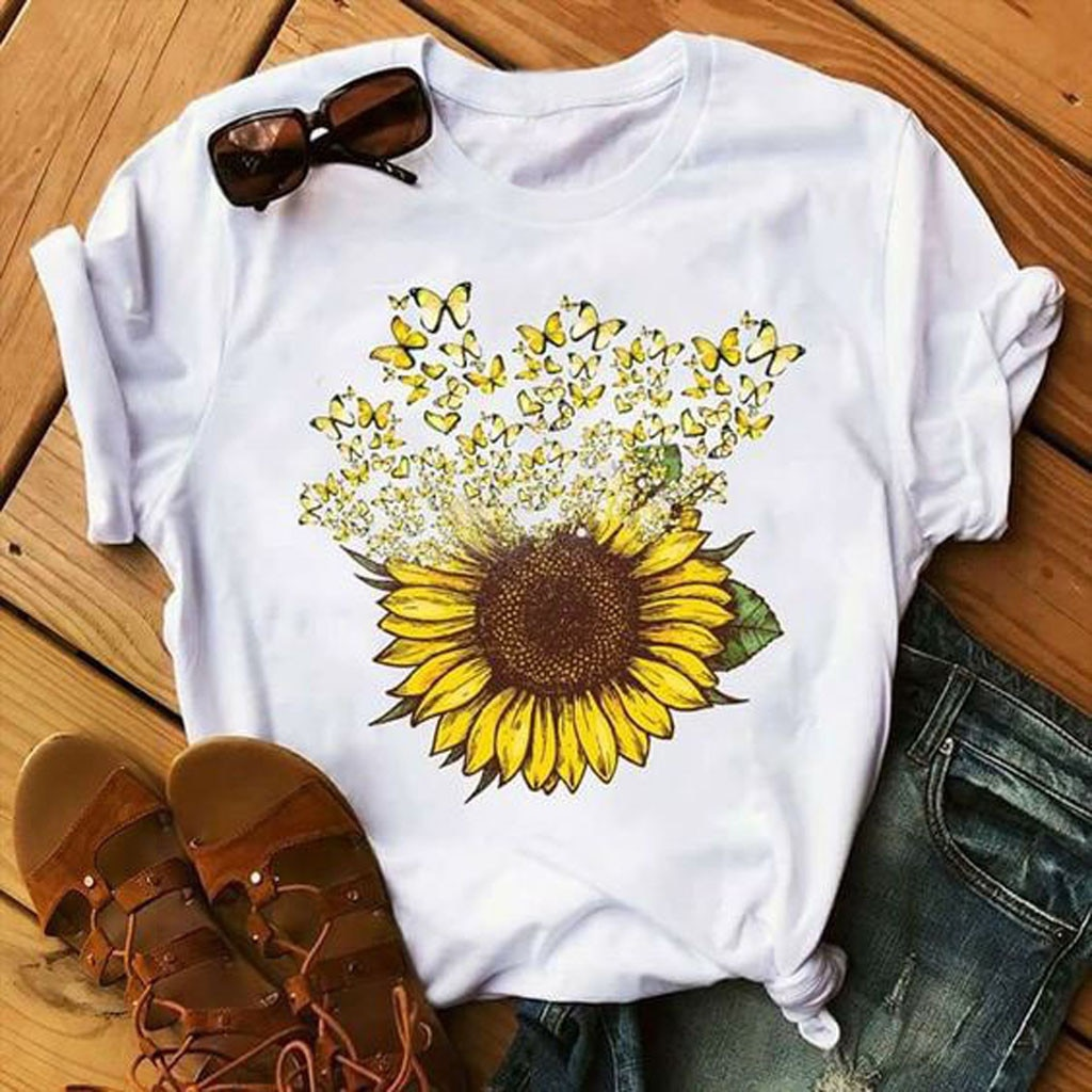 Sunflower Power Husky Print T shirt Personality Fashion Harajuku New Summer Casual Loose T-shirt Streetwear Womens Clothing#W