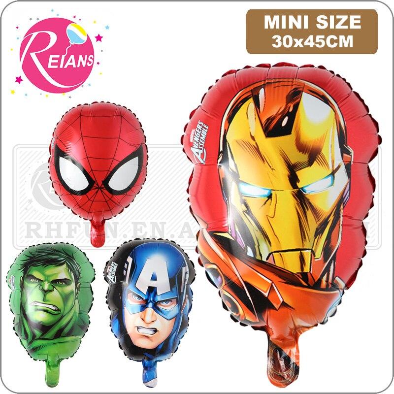 Los Vengadores globos de aluminio superhéroe juguetes para bebés hulk Capitán América superman batman Iron man Spiderman cabeza globo de helio