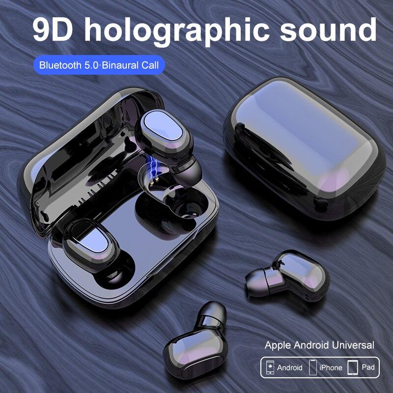 L21-auriculares, inalámbricos por Bluetooth 5,0, Mini auriculares deportivos con micrófono y caja de carga para teléfonos iOS y Android
