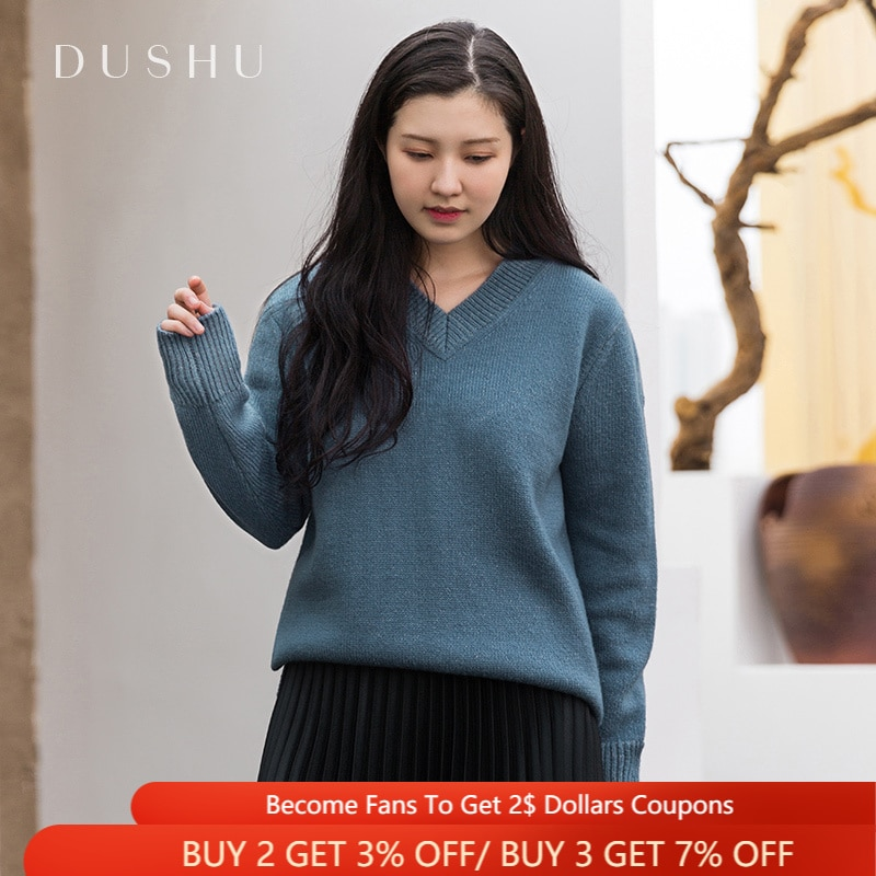 black v neck long sleeves casual sweaters with side pockets DUSHU V-neck Casual Blue Knitted Sweaters Women Long Sleeves Oversized Pullover Autumn Winter Elegant Commuter Female Jumper Top