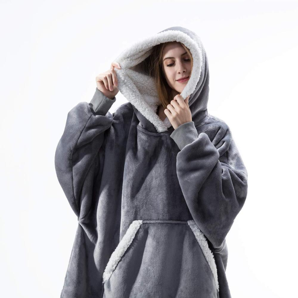 Oversized Hoodie Blanket With Sleeves Sweatshirt Plaid Winter Fleece Hoody Women Pocket Female Hooded Sweat Oversize Femme