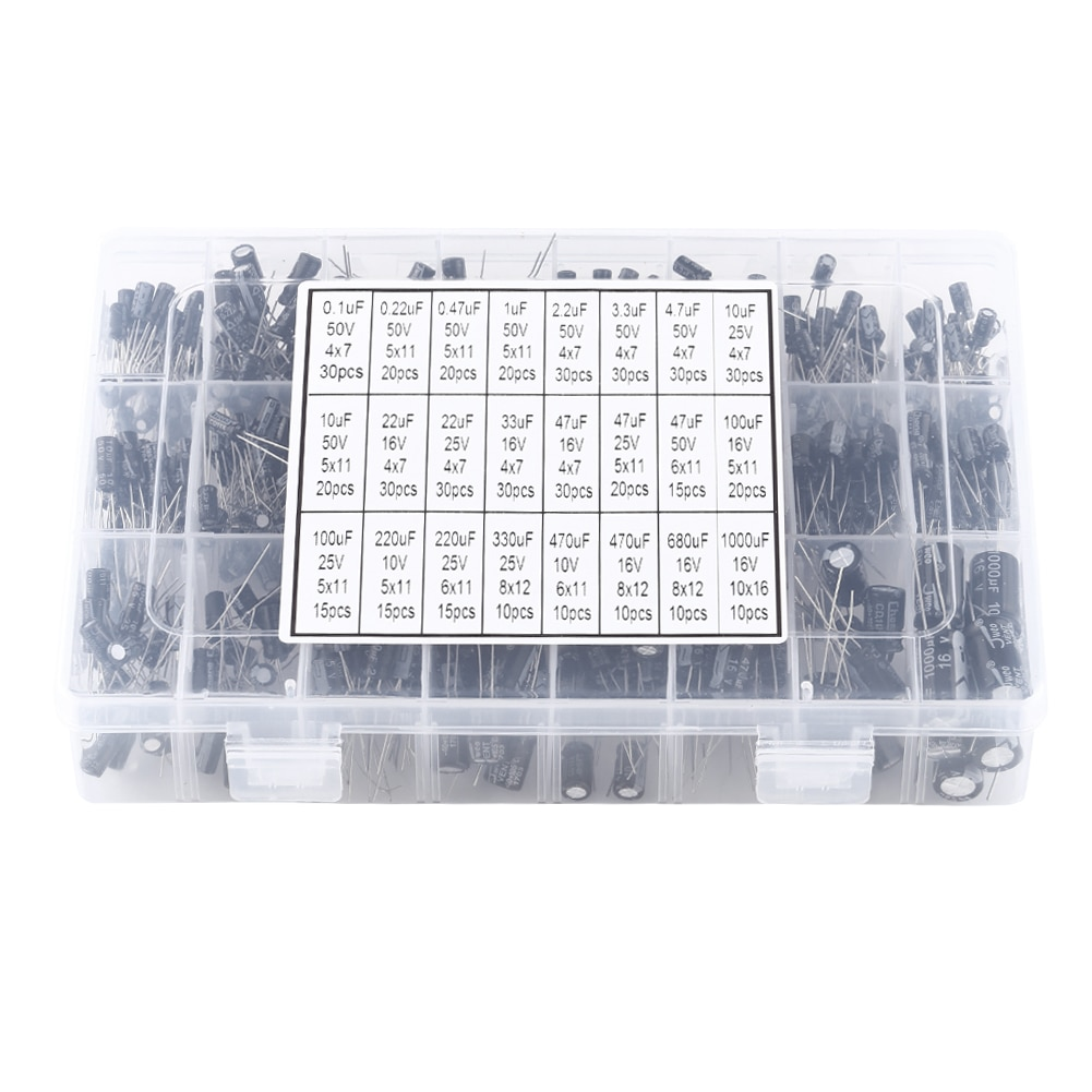 500 Uds 24 valores condensador electrolítico de aluminio Kit surtido 10V ~ 50V 0,1 uF a 1000uF condensadores surtido Kit de caja