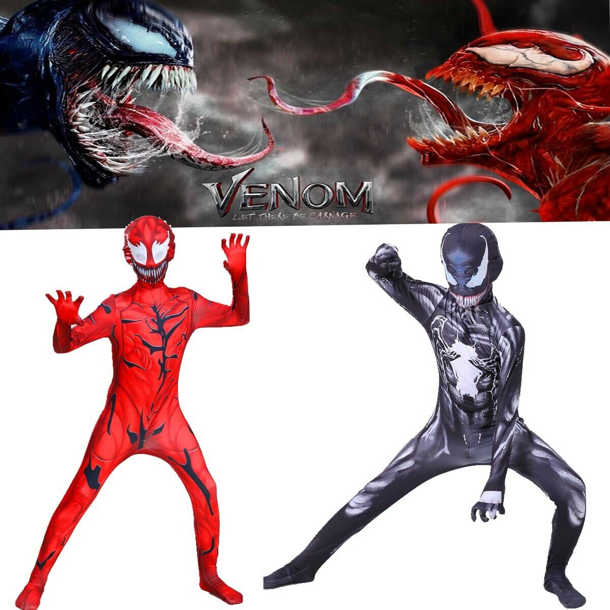 Cosplay Venom 2 Let There Be Carnage Carnage Adult Kids Jumpsuit Red Venom Bodysuit Zentai Halloween Full Set Costume