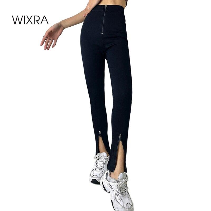 Wixra إمرأة طويل سروال شكل قلم رصاص عادية عالية الخصر الرباط الصلبة الأسود Sweatpants جيوب نحيل بنطلون ربيع جديد