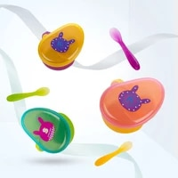portable baby food supplement bowl spoon set infant toddler colorful cartoon tableware baby learning dishes childrens dishes