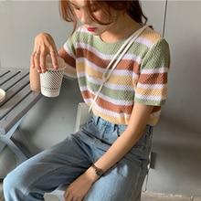 Striped Rainbow T-Shirts Women Casual Short Sleeve Loose Vintage Shirts Harajuku O-Neck Knitted Tops Beach Boho Korean 2020 W642