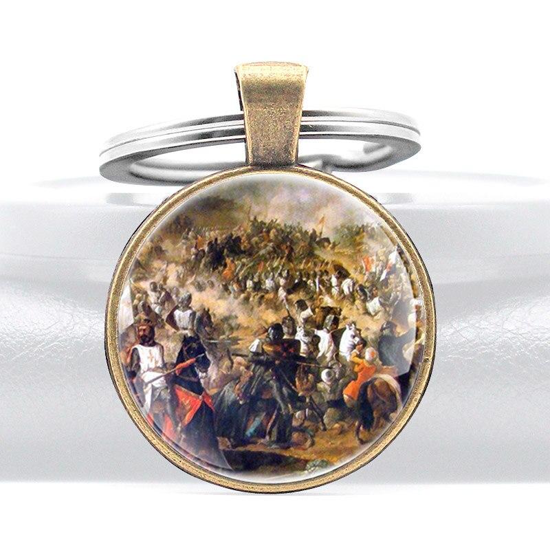 Llavero con diseño Vintage de España, colgante de cúpula de cristal