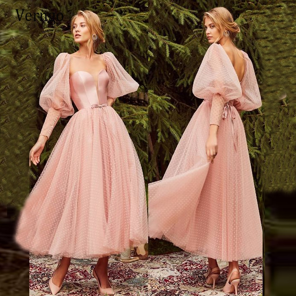 Verngo Ankle Lengh Blush Pink Homecoming Party Dresses Puff Long Sleeves Dot Tulle A Line Vintage Formal Evening Gowns 2021