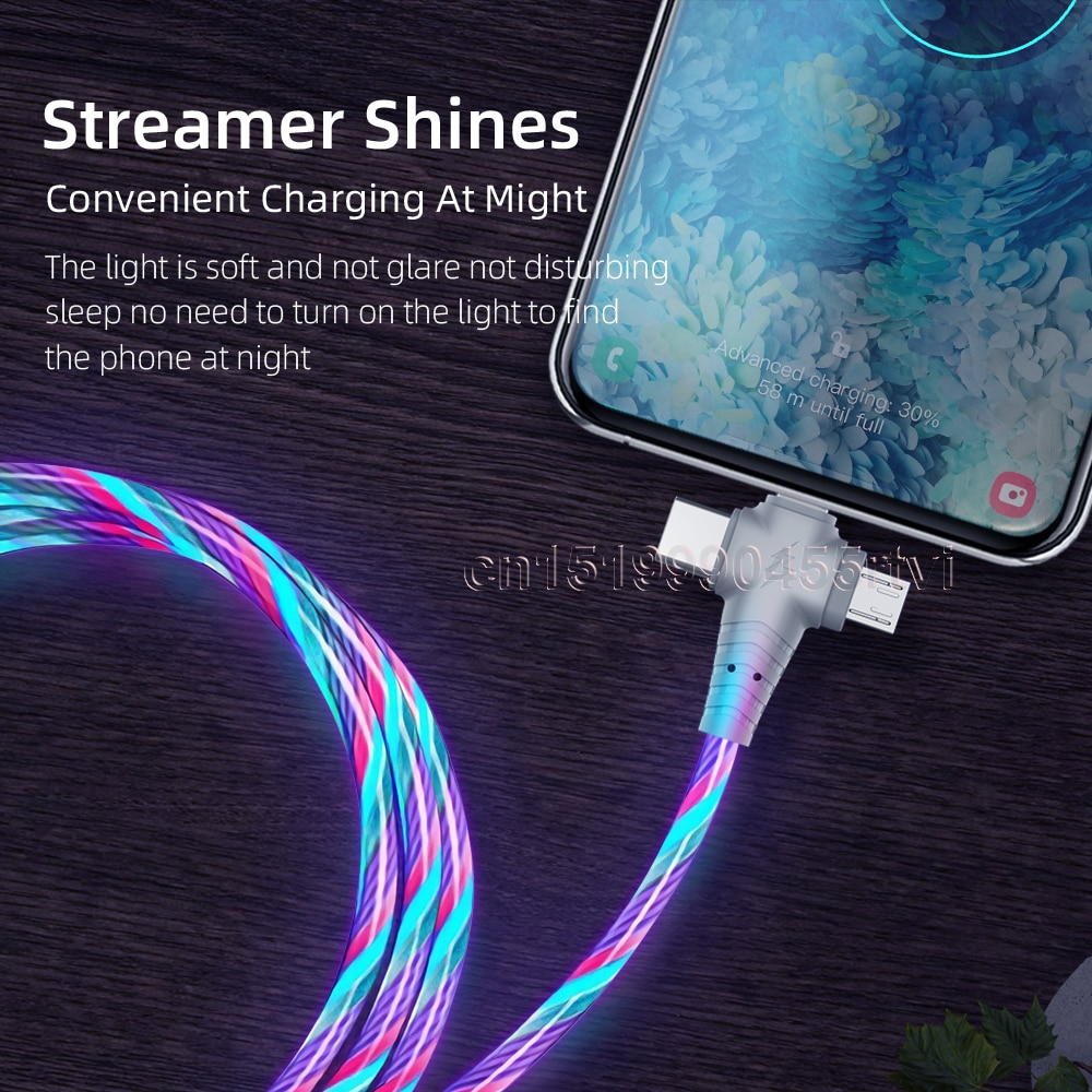 3in1 Flow Luminous Lighting usb cable for iPhone 12 11 Pro 3 in 1 2in1 LED Micro USB Type C 8Pin charger Wire for Huawei Xiaomi enlarge