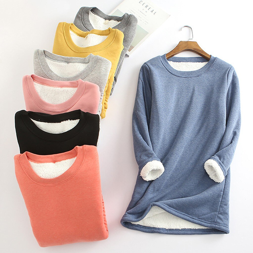 SAGACE, camiseta gruesa de terciopelo para invierno, camisa caliente, camiseta para mujer, camiseta lisa informal, polo térmico básico largo cálido, ropa interior A301022
