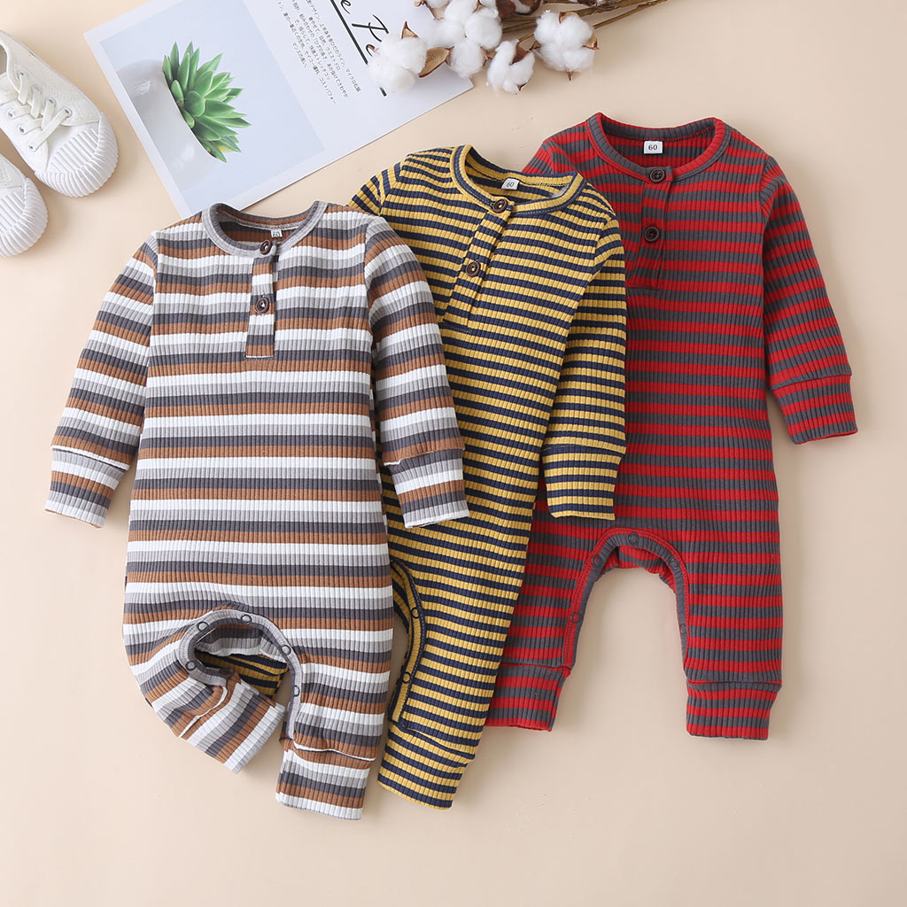 Autumn Newborn Baby Striped Romper Winter Infant Baby Boy Girl Long Sleeve Round Neck Ribbed Jumpsui