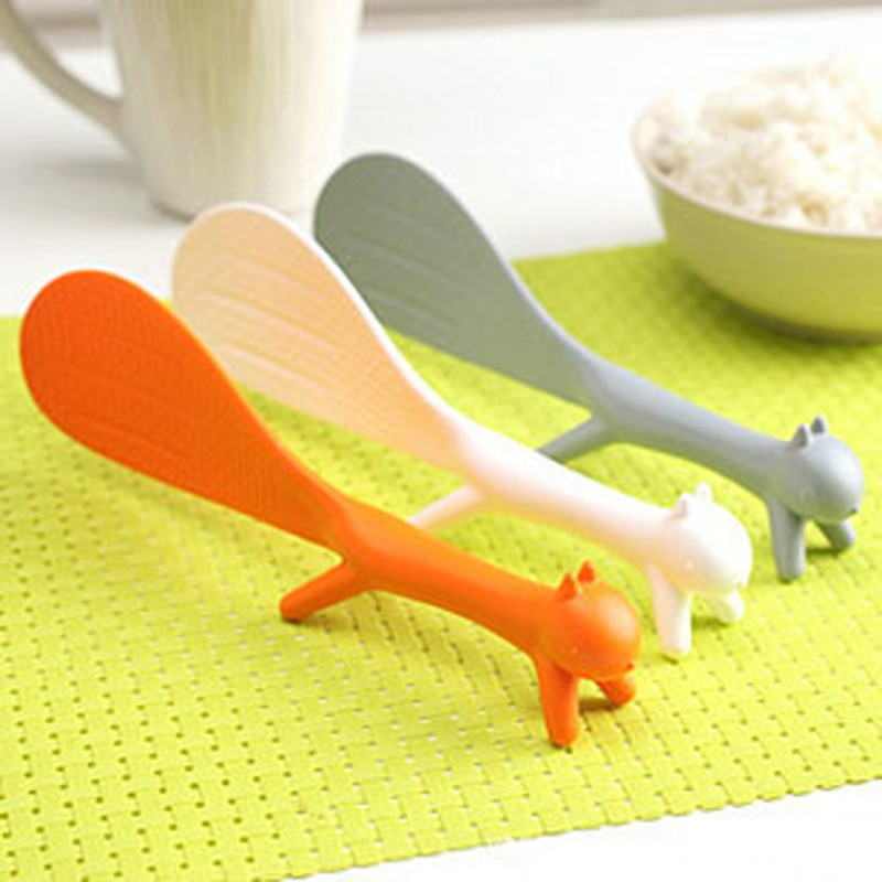 1 Uds precioso suministro de cocina cucharón en forma de ardilla cuchara de arroz antiadherente cuchara de comida cuchara de plástico antiadherente para el hogar cuchara de arroz