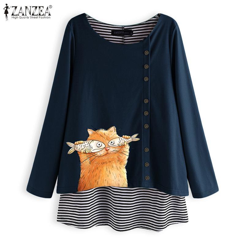 ZANZEA 2020 Vintage mujer Patchwork raya gato impreso blusa Casual Camisa de manga larga diaria O cuello túnica tops blusas femeninas