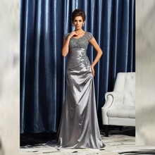 Luxury Sheath Silver Wedding Party Gowns Sleeveless Floor-length Mother of the Bride Dresses Vestido