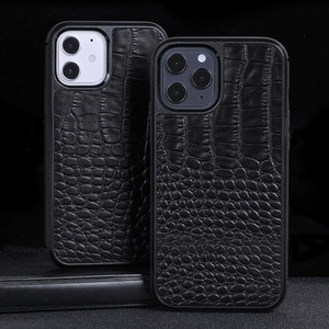 Suitable for Iphone12 Mobile Phone Case Apple 12pro Top Layer Leather Crocodile Pattern Affordable Luxury Mobile Phone Case