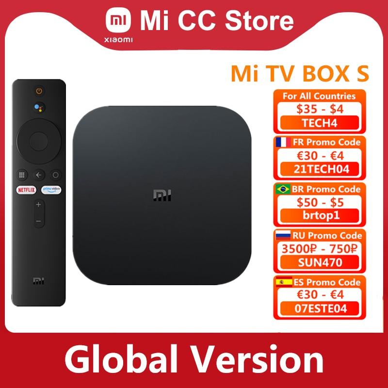 النسخة العالمية من شاومي Mi TV Box S 4K الترا HD أندرويد TV 9.0 HDR 2GB 8GB واي فاي جوجل يلقي Netflix الذكية Mi Box S ميديا بلاير