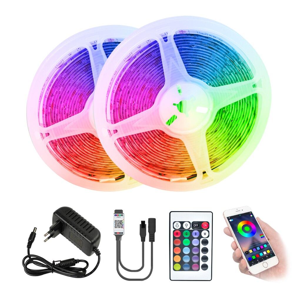 Светодиодный полосы света Bluetooth WI-FI Luces светодиодный RGB 5050 SMD гибкие светодиодные ленты диод 5, 10 м, 15 м, 20 м, 12V Подсветка дистанционного Управле...
