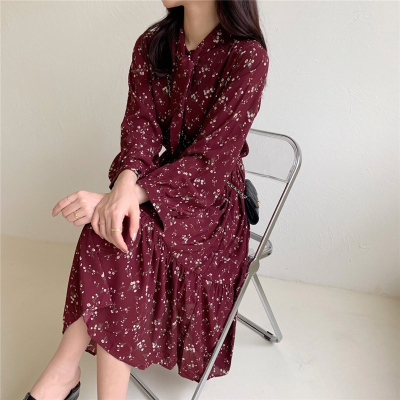 Hzirip feminino elegante chique florais arco retro venda quente 2020 solto casual chique escritório senhora retro vintage vestidos longos 5 cores