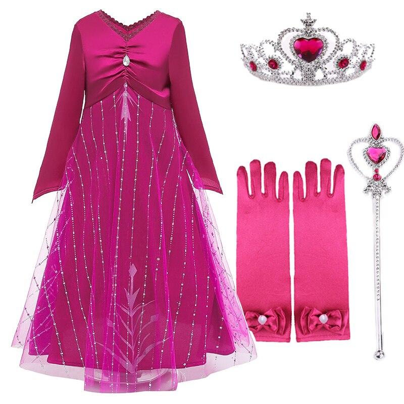 Nuevo vestido de princesa Elsa para niñas, Reina de la nieve, Cosplay de Anna, disfraces de Elsa, vestidos de rosas de Navidad, vestido de fiesta de cumpleaños para niños