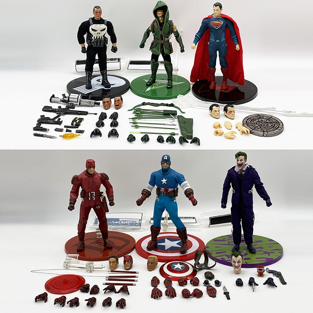 Figuras de acción de Mezco, Batman, Joker, flecha verde, Capitán América, Frankenstein, Shazam, Pantera Negra, Flash, Punisher, Superman