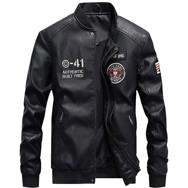 Мужская Флисовая кожаная куртка, Мужская военная куртка-пилот из искусственной кожи с воротником-стойкой, Мужская зимняя кожаная куртка, мо...