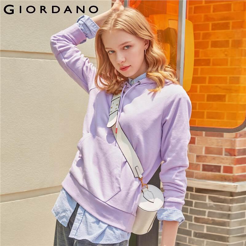 Giordano para mujer Sudadera Mujer canguro bolsillo sudaderas Color sólido ligero Stretechy Durable mujer Jersey 05329779