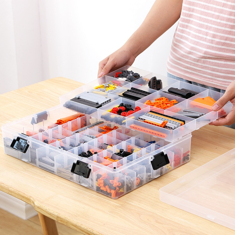اللبنات ليغو اللعب قدرة كبيرة اليد الاطفال حقيبة للتخزين علبة ترتيب بلاستيكية واضحة يمكن ضبط مساحة التخزين