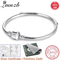 lmnzb with certificate 100 original 925 sterling silver snake chain diy charm bracelet for women gift silver 925 jewelry lhb925
