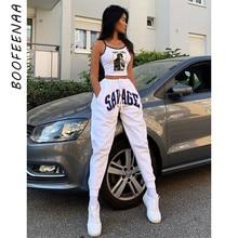 BOOFEENAA lettre imprimer blanc taille haute pantalons de survêtement femmes printemps 2020 mode Streetwear Joggers Hip Hop pantalon ample C87-AD98