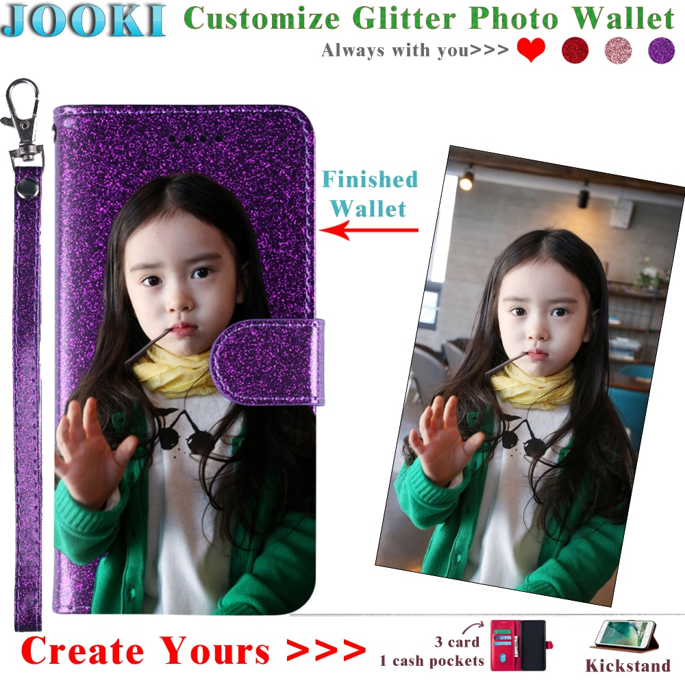 AQUOS R3 Glitter Funda personalizada foto cuero cartera para Sharp SHV44 SH-04L Rosa Suave cuero señoras mujeres cartera bolsa