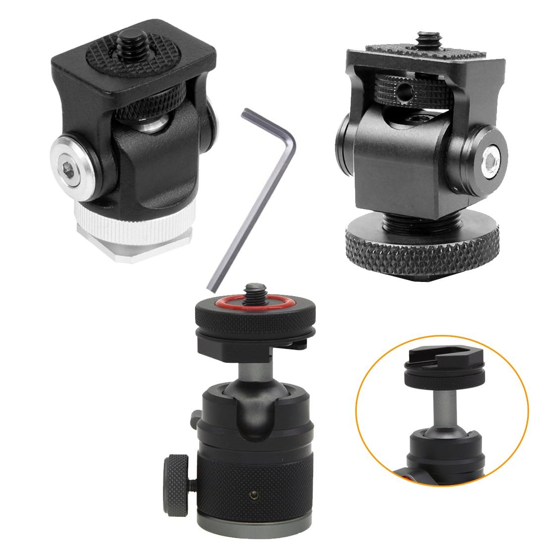 Hot Shoe Mount Mini BallHead 360 Panoramic Monitor Holder Camera Pan Tilt 1/4'' Cold Shoe Adapter for Tripod Light Flash Bracket