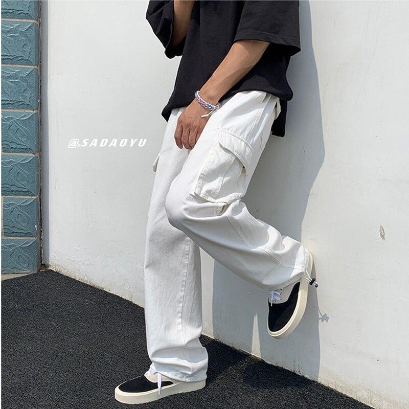 Белые мужские модные свободные прямые брюки, Новые повседневные широкие брюки, мужские большие технические прямые Мешковатые повседневные...