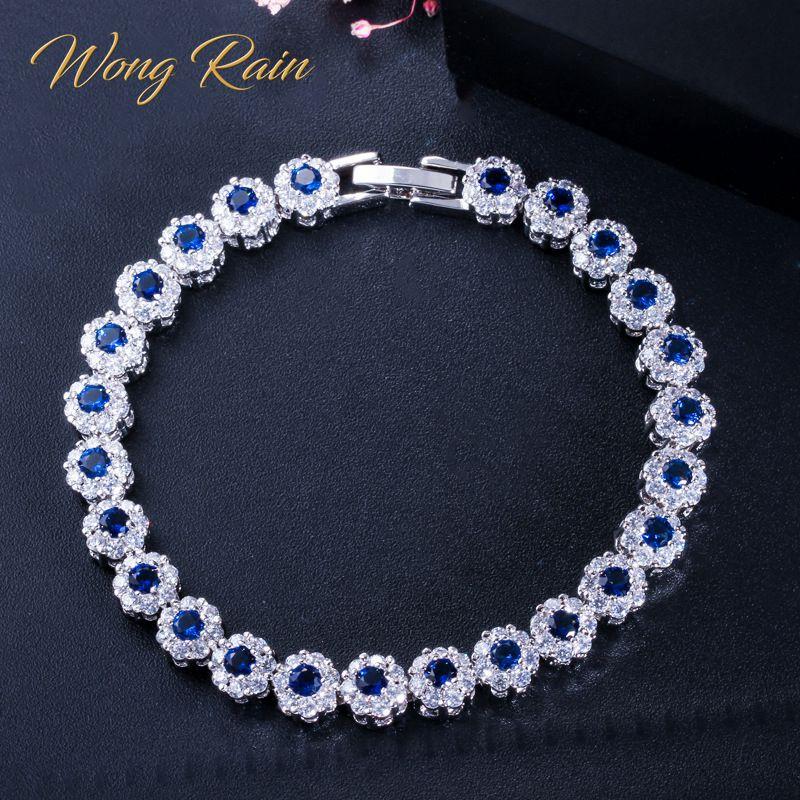 Wong Chuva Do Vintage 100% 925 Sterling Silver Sapphire Emerald Gemstone Birthstone Pulseira Flor Charme Pulseiras de Jóias Por Atacado