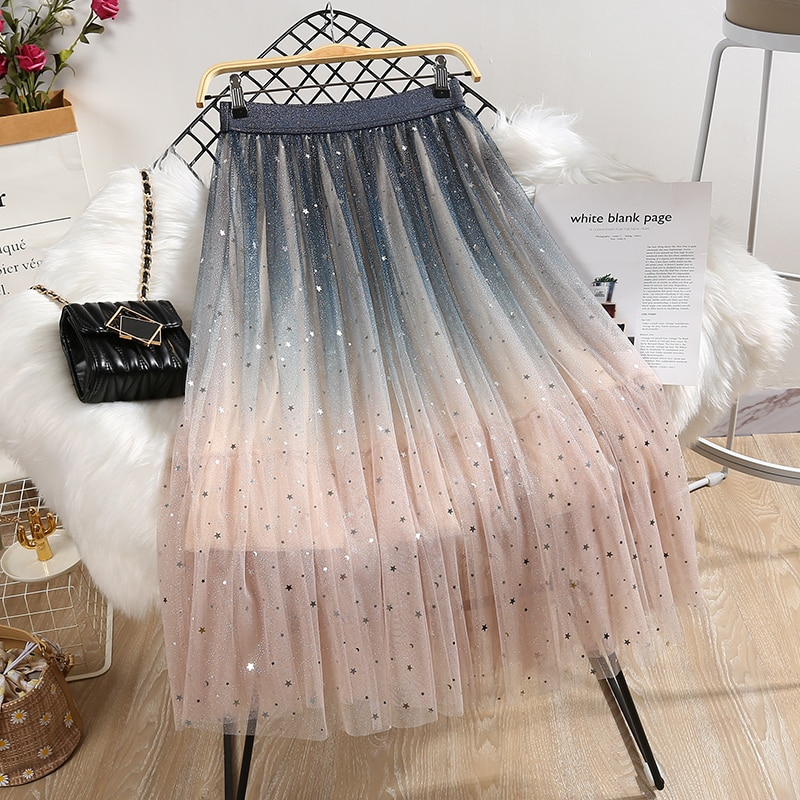 Long Skirts Women Elastic High Waist Skirt Ladies Gradient Color Star Sequin Elastic Waist Mesh Star