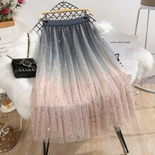 Long Skirts Women Elastic High Waist Skirt Ladies Gradient Color Star Sequin Elastic Waist Mesh Star