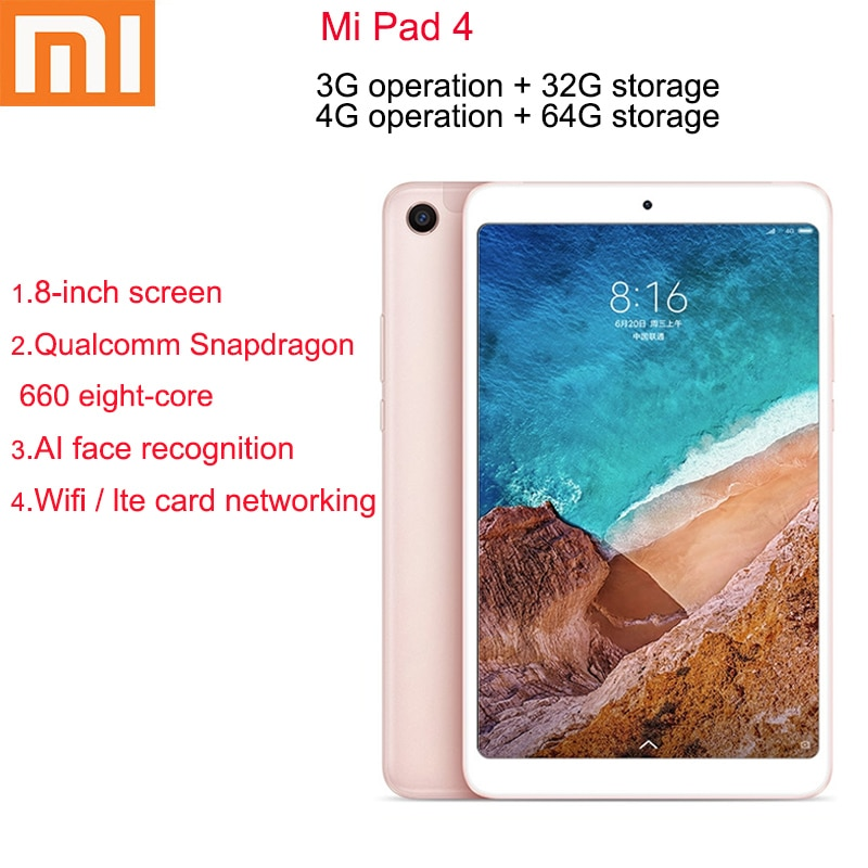 Original Xiaomi Mi Pad 4 32GB/64GB Tablets 4 Snapdragon 660 AIE CPU Tablet 8.0'' 16:10 Screen 13MP B