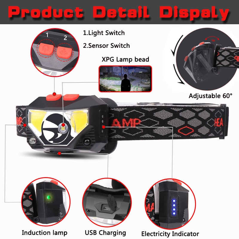 90000lm Hands-free LED Headlamp Motion Sensor head lamp LED headlight Torch Built-in battery inductive Light with Portable box enlarge