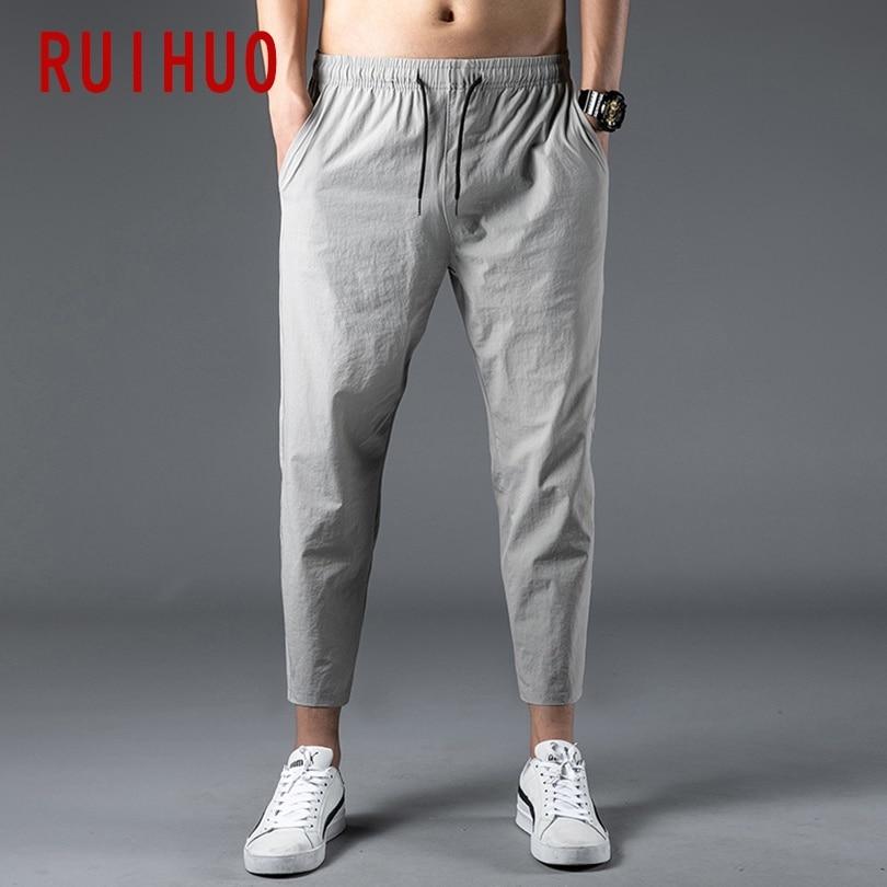 RUIHUO 2020 New Solid Harem Pants Men Trousers Ankle-Length Casual Pants Men Sweatpants Hip Hop Streetwear Male Plus Size M-5XL