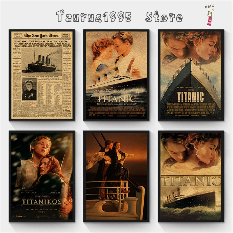 Плакат-истории-Нью-Титаника-«Нью-Йорк-Таймс»-Титаник-полосатый-корабль-старые-новости-бумажная-ретро-крафт-бумага-украшение-для-дома