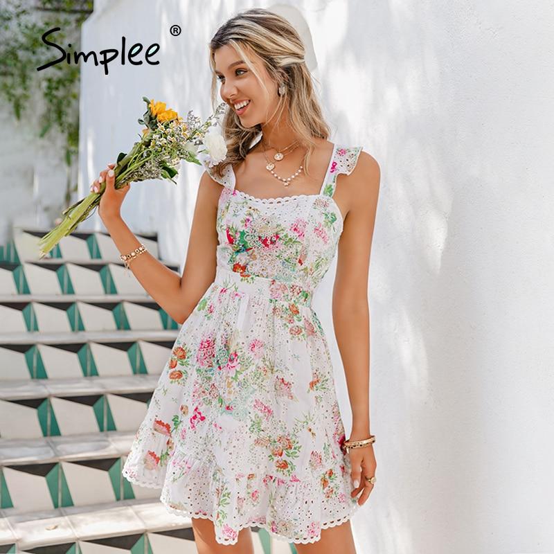 Simplee Elegant floral print spaghetti strap short dress Summer holiday style high waist dress 2021