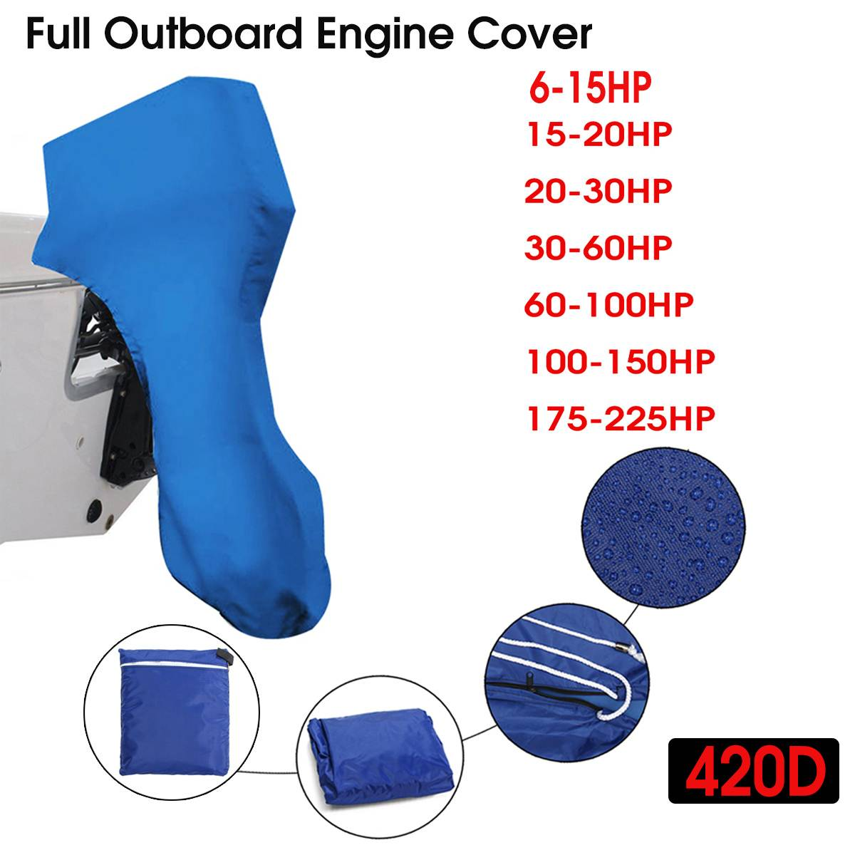 420D 6-225HP Boat Full Outboard Engine Cover Protection Blue For 6-225HP Motor Waterproof Sunshade Dust-proof