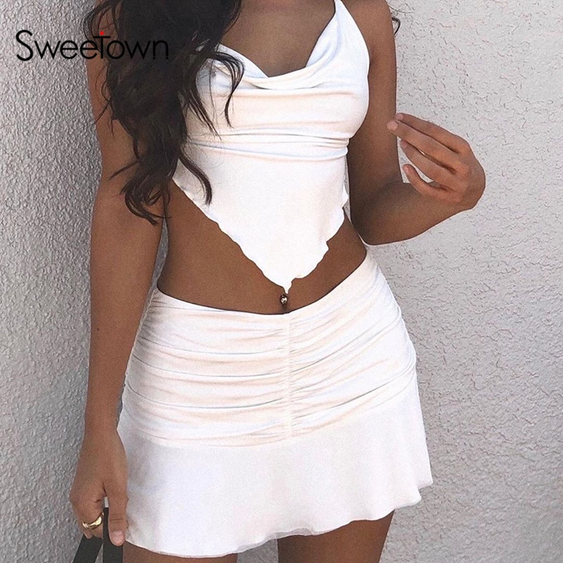 Sweetown Preppy Style Ruched Pleated Skirts Woman High Waist Casual 90s Mini Skirt Lady Trendy 2020 Y2K Summer Beachwear White