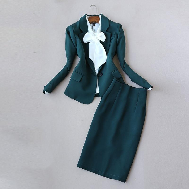 مزاجه المرأة الدعاوى تنورة عادية البدلة 2021 عادية بلون السيدات سترة بدلة صغيرة ضئيلة تنورة قطعتين جودة عالية