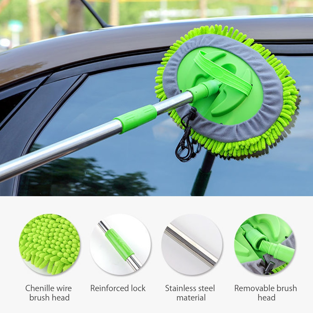 Car Wash Mop Mitt with Extendable Handle Chenille Microfiber Car Cleaning Kit Cleaning Tool with Replacement Head